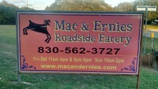 Mac & Ernie's Roadside Eatery sign